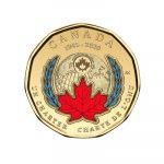 El primer loonie colorido producido por la Real Casa de la Moneda de Canadá conmemora el 75.° aniversario de la firma de la Carta de las Naciones Unidas